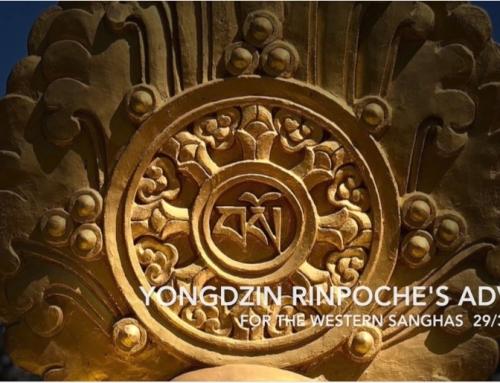 Message from H.E. Yongdzin Lopön Tenzin Namdak Rinpoche
